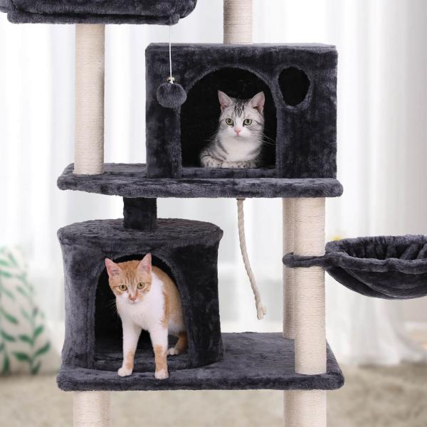Ansamblu de joaca cu doua paturi si doua case pentru pisici PCT90G 2
