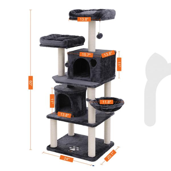 Ansamblu de joaca cu doua paturi si doua case pentru pisici PCT90G 4