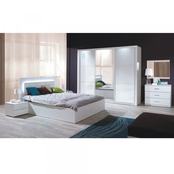Set dormitor dulap pat 160x200 noptiere alb/alb lucios HG ASIENA 0