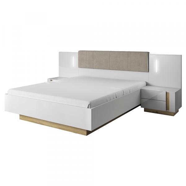 Set dormitor complet culoare alb/stejar CITY 2
