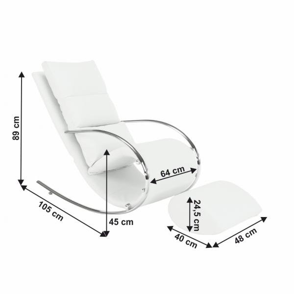Fotoliu balansoar piele eco alba cadru metal ROGER 4