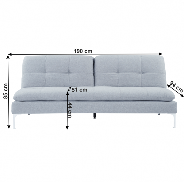 Canapea extensibila gri deschis HERMA 5