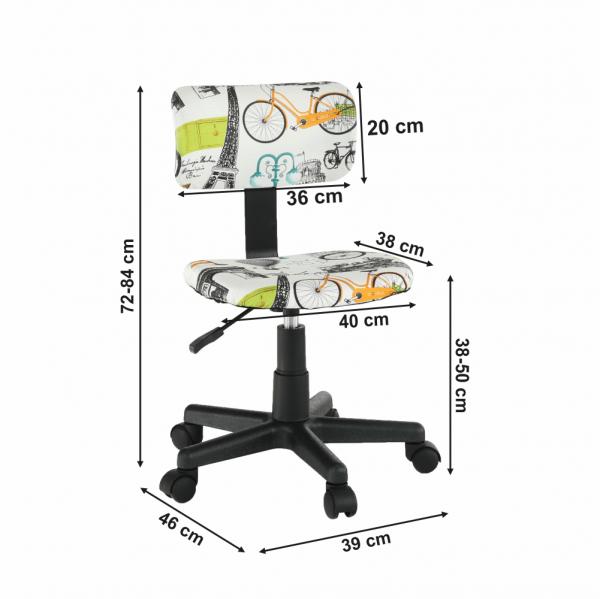 Scaun de birou rotativ tapitat KIDS 3