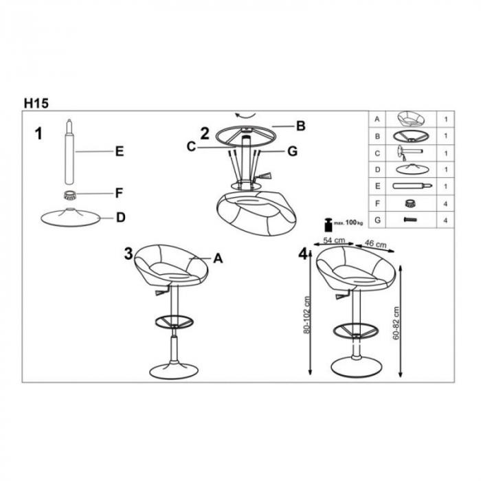 Scaun inalt de bar reglabil pe inaltime tapitat HM H15 3