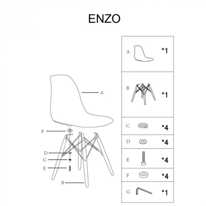 Scaun lemn masiv scoica plastic SL Enzo [4]