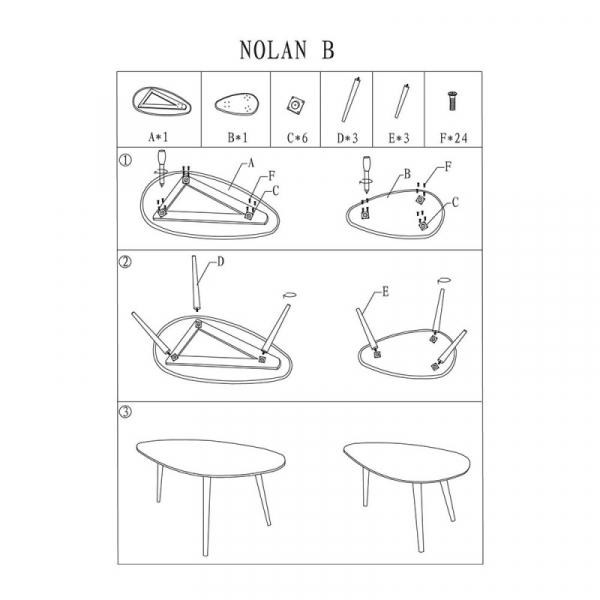 Set 2 mese cafea SL Nolan B alb - stejar 0
