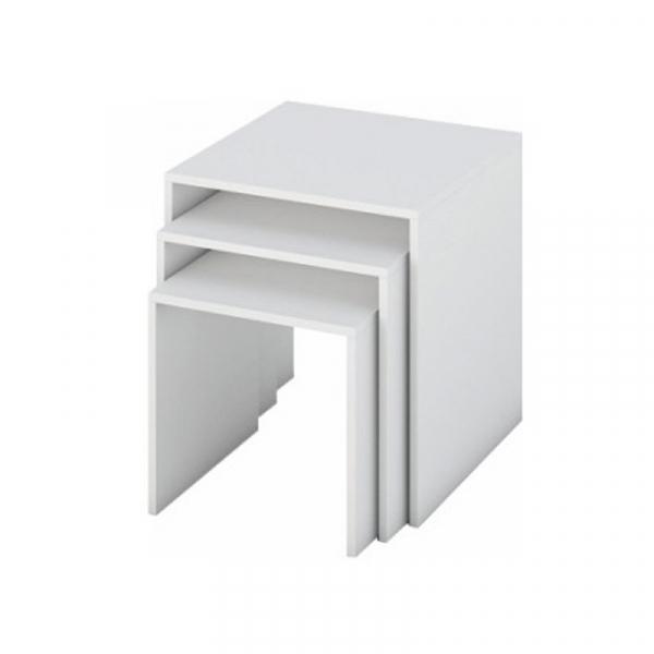 Set de 3 masute auxiliare albe SIPANI 0