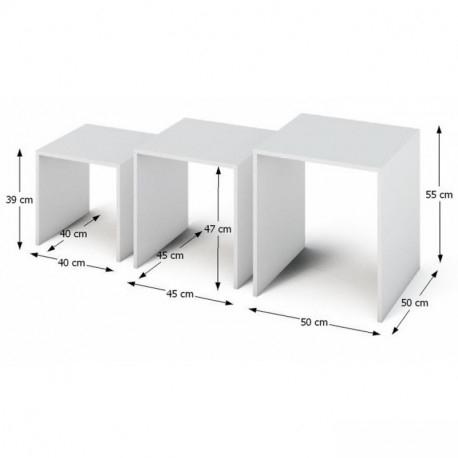 Set de 3 masute auxiliare albe SIPANI 1