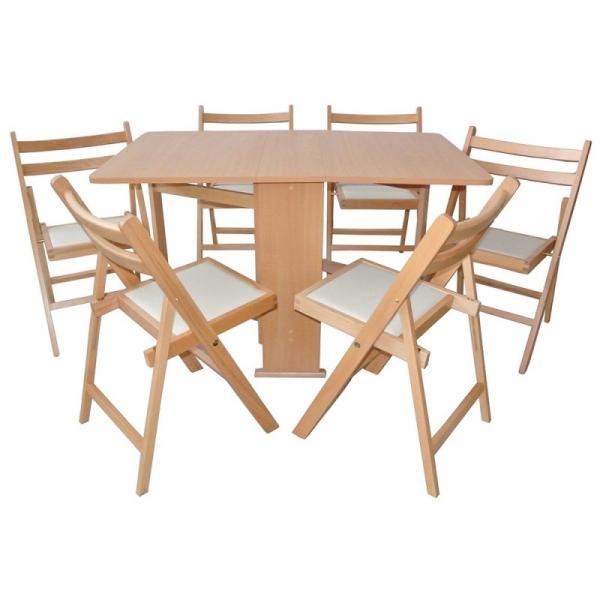 Set masa pliabila PRACTIC cu 6 scaune Natur 0