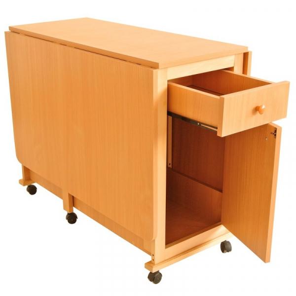 Set masa plianta cu usa si sertar cu 6 scaune Fag 2