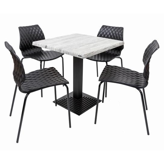 Set terasa outdoor masa BOSTON URBAN SPRUCE 70x70 cu scaune UNI 550 0