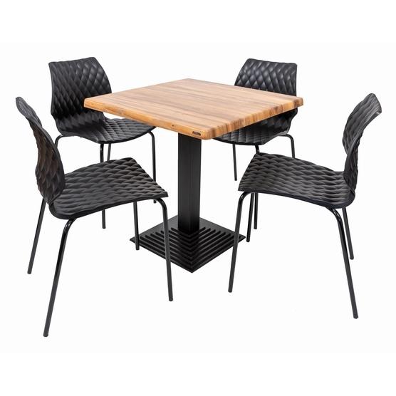 Set terasa outdoor masa BOSTON WASHED ELM 70x70 cu scaune UNI 550 0