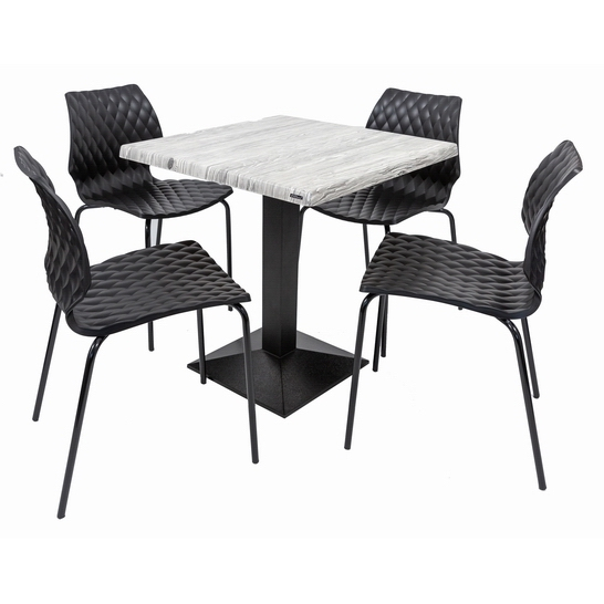 Set terasa outdoor masa CARDIFF URBAN SPRUCE 70x70 cu scaune UNI 550 0