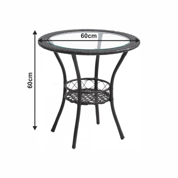 Set tehno-rattan de gradina masa 2 scaune maro LASAN 2