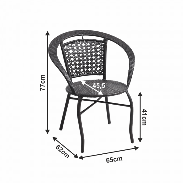 Set tehno-rattan de gradina masa 2 scaune maro LASAN 1