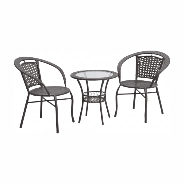 Set tehno-rattan de gradina masa 2 scaune maro LASAN 0