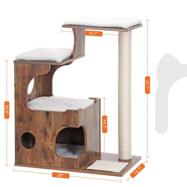 Ansamblu de joaca retro pentru pisici cu pat si pestera PCT70HW 4