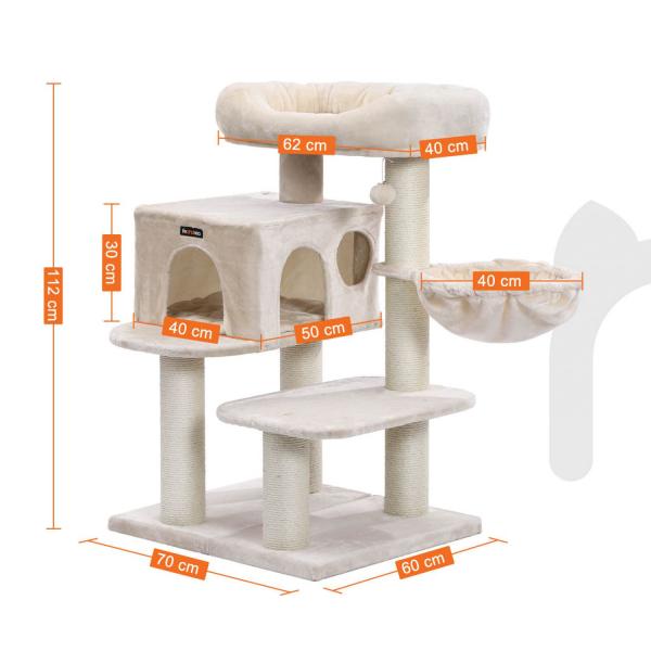 Ansamblu de joaca cu pat si pestera pentru pisici PCT01M 4