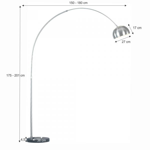 Lampă semicerc oţel / marmură neagră CINDA TYP 16 F1034-M 1