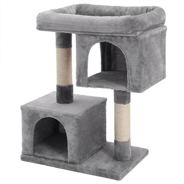 Ansamblu de joaca cu doua case pentru pisici PCT61W 0