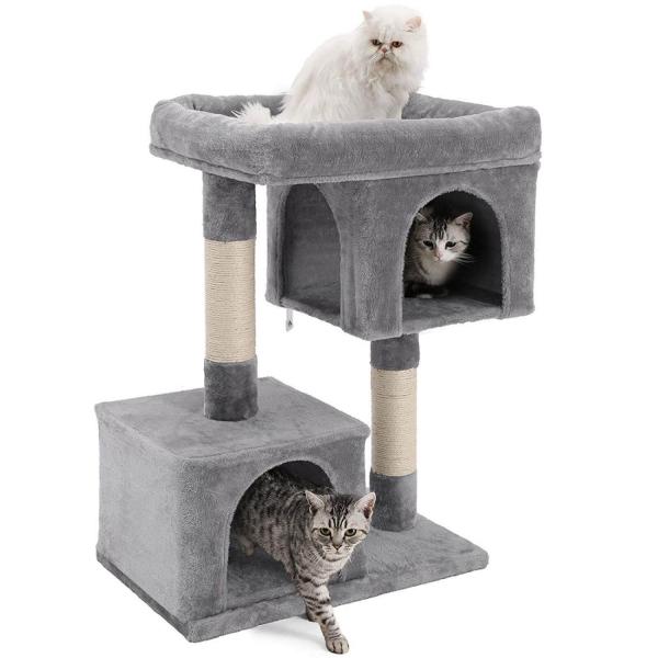 Ansamblu de joaca cu doua case pentru pisici PCT61W 1