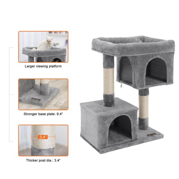 Ansamblu de joaca cu doua case pentru pisici PCT61W 3