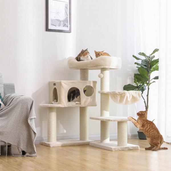 Ansamblu de joaca cu pat si pestera pentru pisici PCT01M 3