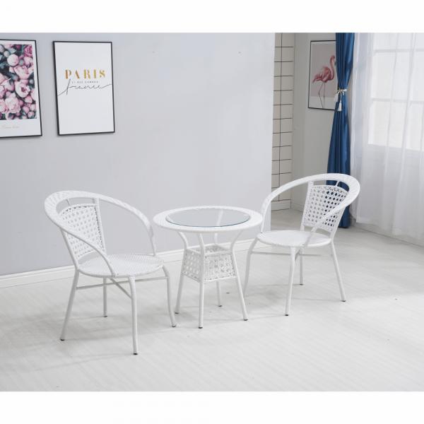 Set tehno-rattan de gradina masa 2 scaune alb JENAR 9