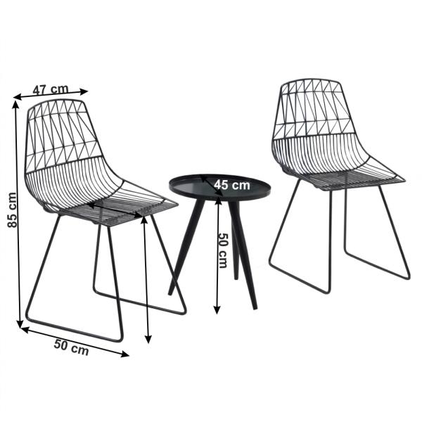 Set de gradina masa 2 scaune negru SAHIR [1]