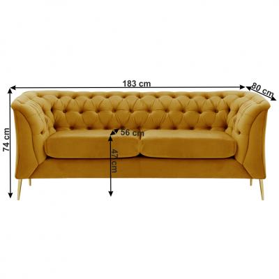 Canapea cu 2 locuri de lux tapiterie auriu NIKOL 2 ML3