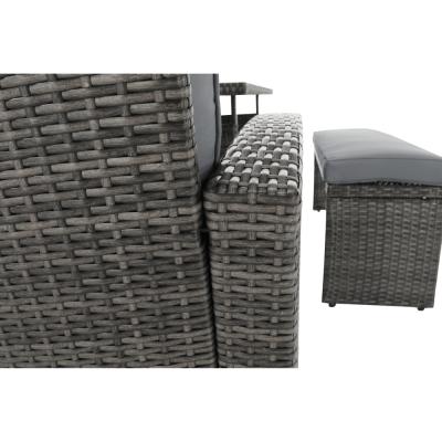 Set de gradina din 3 piese tehno-rattan gri AUREK11