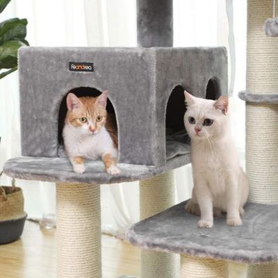 Ansamblu de joaca cu pat si pestera pentru pisici PCT01W3