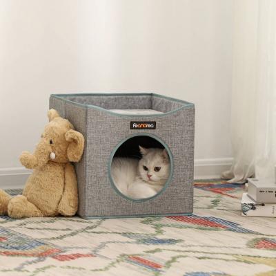 Casă pătrată de pisică cu pat PCB03G2