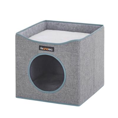 Casă pătrată de pisică cu pat PCB03G0