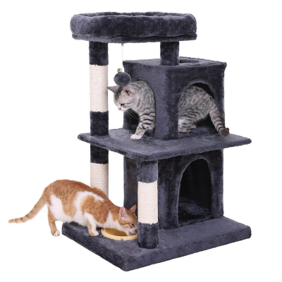 Ansamblu de joaca cu pat si doua case pentru pisici PCT57G [0]