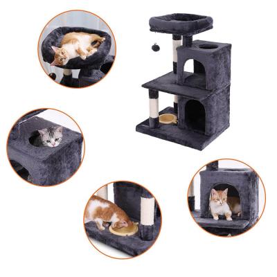 Ansamblu de joaca cu pat si doua case pentru pisici PCT57G [3]