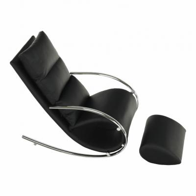 Fotoliu  balansoar piele eco neagra cadru metal ROGER5