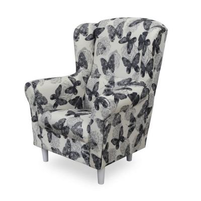 Fotoliu cu taburet tapiterie textil vintage patchwork ASTRID2