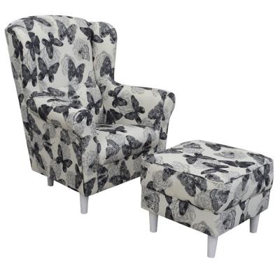 Fotoliu cu taburet tapiterie textil vintage patchwork ASTRID0