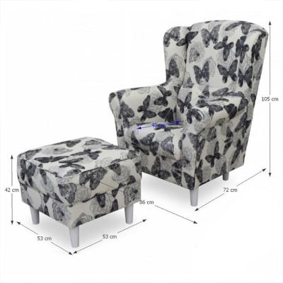Fotoliu cu taburet tapiterie textil vintage patchwork ASTRID1