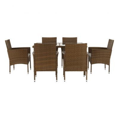 Set de gradina masa 6 scaune rattan miere/crem GARDEN3
