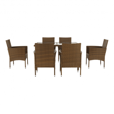 Set de gradina masa 6 scaune rattan miere/crem GARDEN5