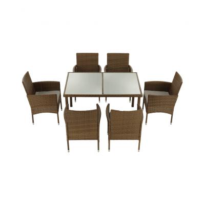 Set de gradina masa 6 scaune rattan miere/crem GARDEN6