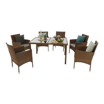 Set de gradina masa 6 scaune rattan miere/crem GARDEN2