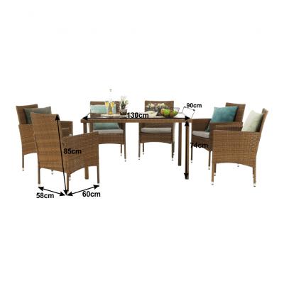 Set de gradina masa 6 scaune rattan miere/crem GARDEN1