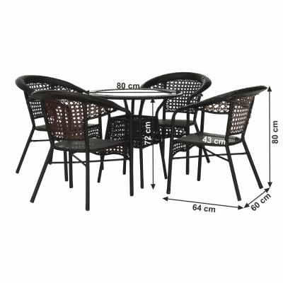 Set de gradina masa 4 scaune maro GETON1