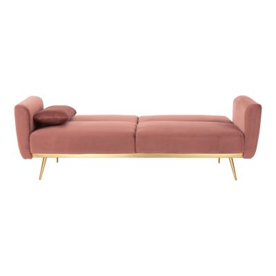 Canapea extensibila catifea roz HORSTA5