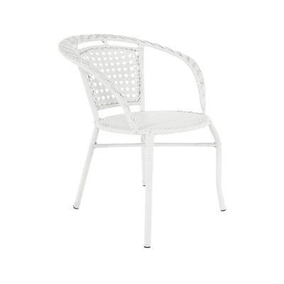 Set tehno-rattan de gradina masa 2 scaune alb JENAR6