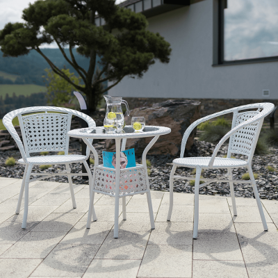 Set tehno-rattan de gradina masa 2 scaune alb JENAR7