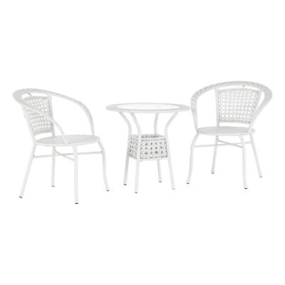 Set tehno-rattan de gradina masa 2 scaune alb JENAR0